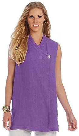 5f9b40ceabe Bryn Walker Women s Linen Gohwa Vest Top Ultra Purple (Medium) at ...