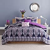 4 Piece Exotic Mandala Floral Patterned Comforter Set Twin/Twin XL Size, Printed Bold Lush Indie Style Blooming Forest Wildflowers Dark Colored Paisleys Bedding, Modern Nature Lovers Design, Purple