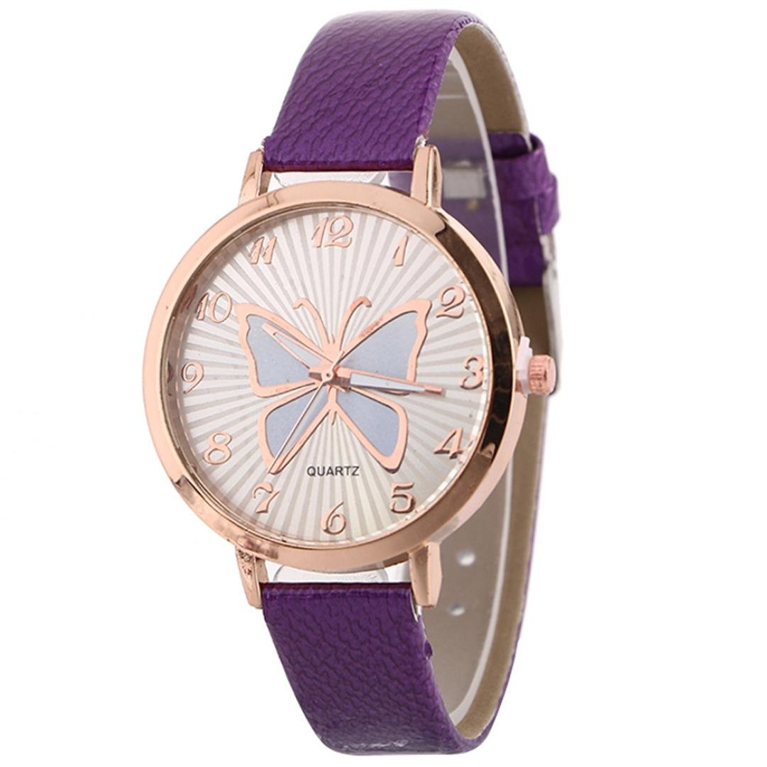 Women s Butterfly Watches Creative Pattern Quartz Watch Leather Strap Belt Table Watch