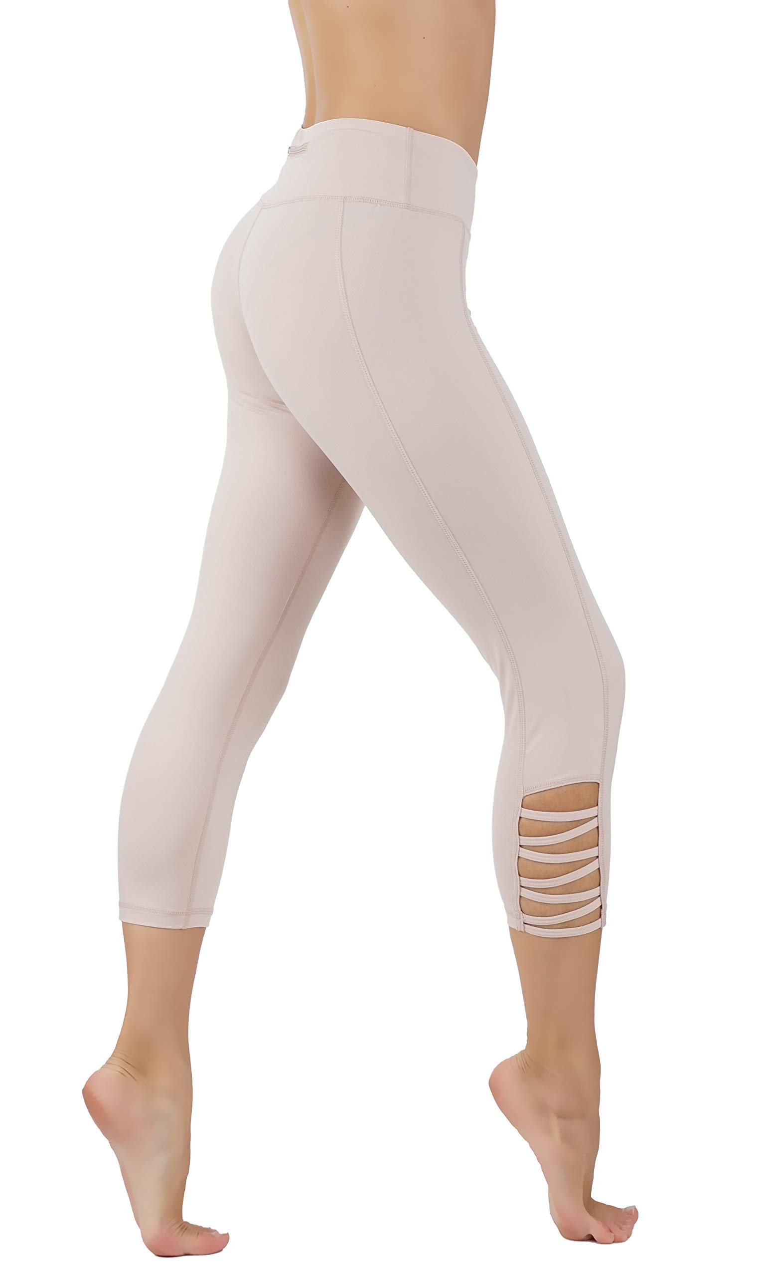CodeFit Yoga Pants Power Flex Dry-Fit with CRIS Cross Leg Cutouts 7/8 Length Soled Color Leggings Key Pocket (M US Size 8-10, CF321/C110-P.PNK)