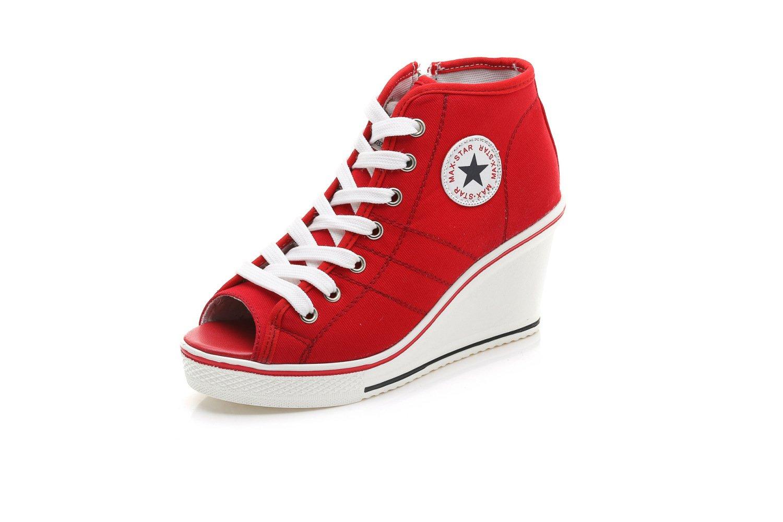Femmes Peep Toe Haut-Top Chaussures 19185 en Toile Femmes Wedge Poissons Bouche Toile Sandales Grande Taille Wedge Talon Baskets Red 3d07e4d - shopssong.space