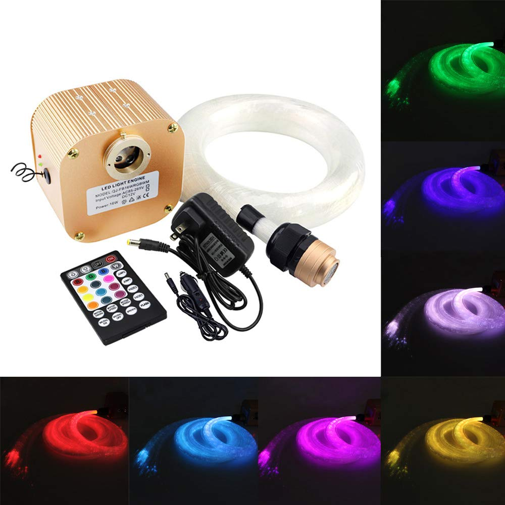 16W Music Control Fiber Optic Star Kit Ceiling Light, AZIMOM Twinkle RGBW LED Optic Fiber Lighting + Wireless 28 Keys RF Remote 0.75mm/0.03in 9.8ft/3m 450pcs for Car & Home Interior Decoration