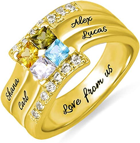 oNecklace ® Gold Plated Engraved Name Ring Set of Layering Rings Mother Rings