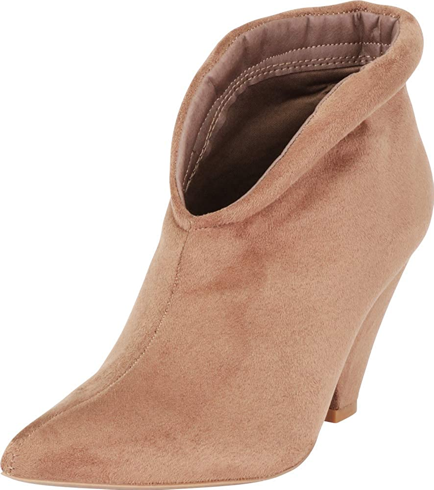 Taupe Imsu Cambridge Select Women's Pointed Toe Front V Cutout Chunky Cone Heel Ankle Bootie