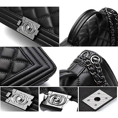 Lingge Chain Women Black Shoulder Handbags Tote Satchel Fashion Top Bag Handle Purse RFFxSw5q