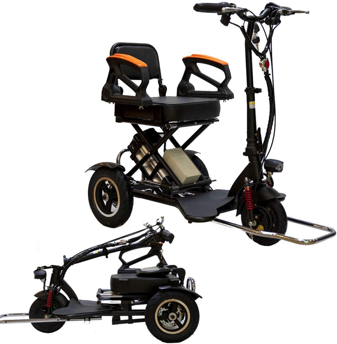 XYDDC Mini eléctrico Triciclo para Adultos portátil Plegable/Mayor/lisiado Scooter eléctrico de Litio eléctrica de 48 V del vehículo Puede durar más de 60 Kilómetros con Seguridad Barandilla Negro