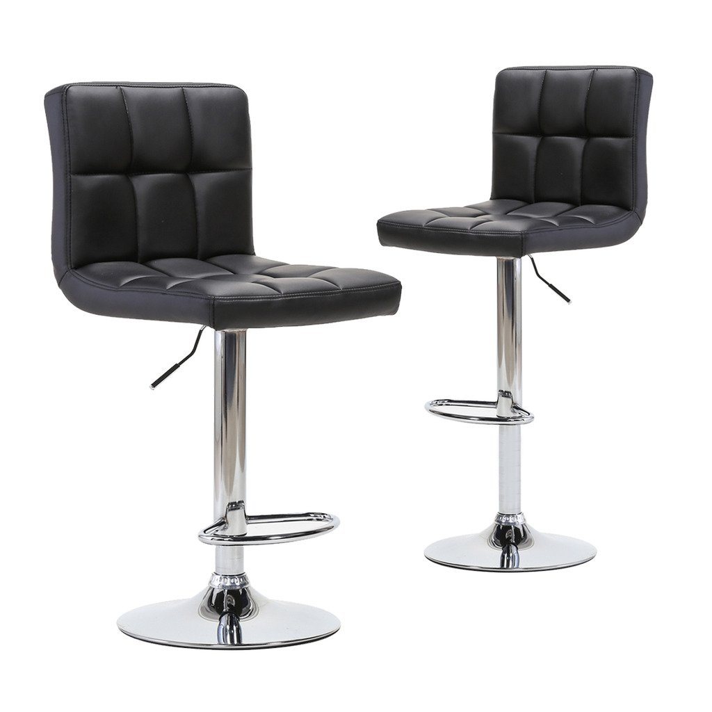 Chiming Classic Black PU Leather Height Adjustable Swivel Pub Chair Bar Stools, Set of 2