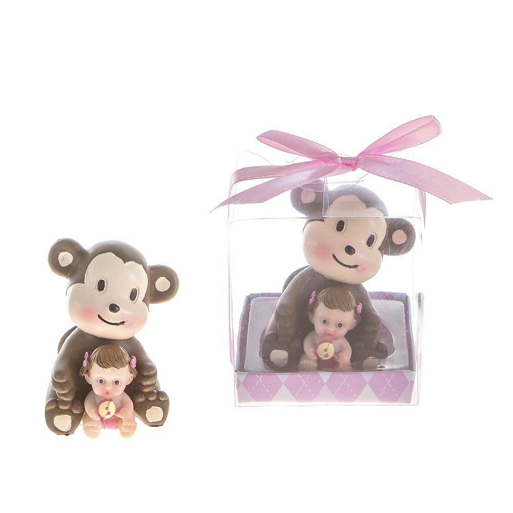 Lunaura Baby Keepsake - Set of 12 Girl Baby Holding Rattle Sitting Next to Monkey Favors - Pink by Lunaura   B00IA9W8QC