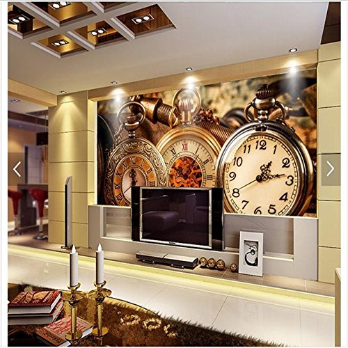 LHDLily 3D Wallpaper Mural Wall Sticker Thickening Customized Photo Tv Tv Wall Fashion Watch Photo Wall Living Room 400cmX300cm by LHDLily