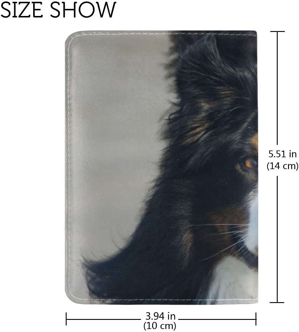 Bernese Mountain Dog Dog Protruding Tongue Leather Passport Holder Cover Case Travel One Pocket