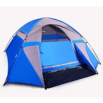3 Person Dome Shaped C&ing Tent (Blue) & Amazon.com : 3 Person Dome Shaped Camping Tent (Blue) : Sports ...