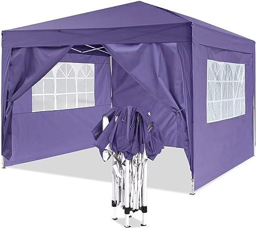 YUEBO Gazebo 3x3 m Carpas Plegables Impermeables Pergola Plegable Cenador Camping Cenadores para Jardin, Playa ...