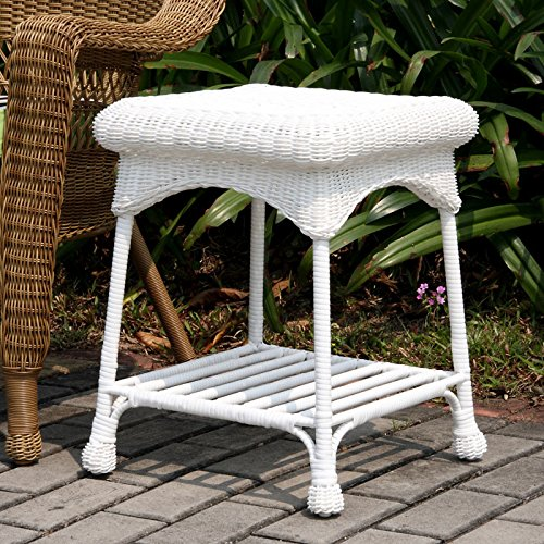 All Weather White Wicker - Wicker Lane Outdoor White Wicker Patio Furniture End Table