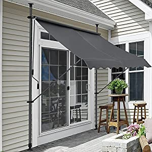 [pro.tec] Toldo articulado con armazón – Gris – 150 x 120 x 200-300 cm – Toldo Enrollable terraza balcón – Protector de Sol – Parasol