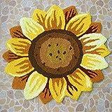 Ustide Sunflower Floral Shaped Doormat Handmade Rug Anti-slip Mat Colorful Floor Rug Personalized Custom Carpets Outdoor Mat 2x2