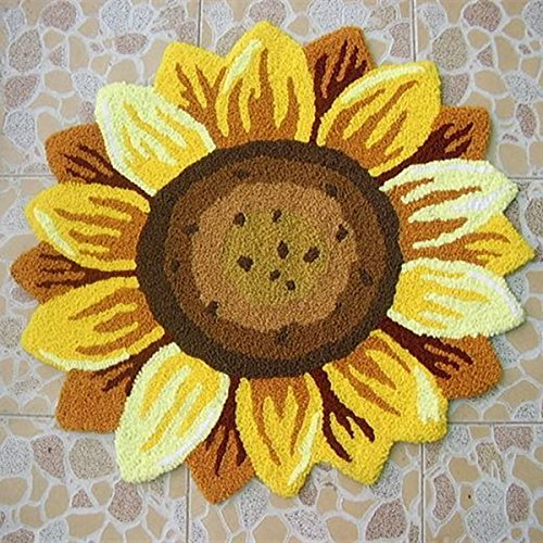 Bon Ustide Sunflower Floral Shaped Doormat Handmade Rug Anti Slip Mat Colorful  Floor Rug Personalized Custom