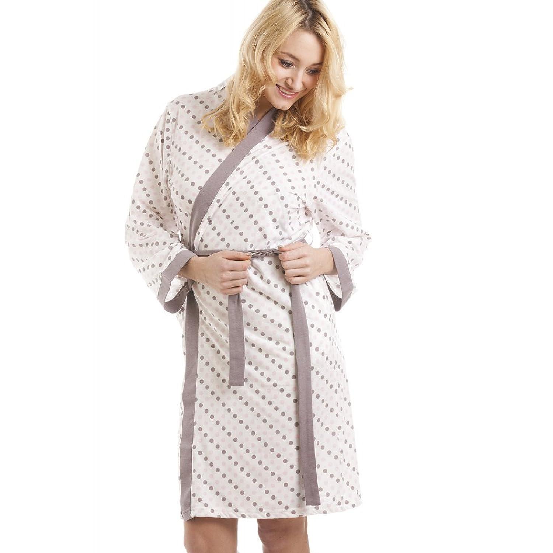 Robe de chambre lég¨re coton mélangé motif pois rose taupe