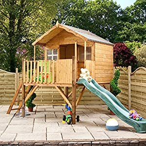 WALTONS-EST-1878-6x5-Wooden-Garden-Tower-Slide-Playhouse-for-kids-Tongue-Groove-Construction-dip-treated-with-10-Year-Anti-Rot-Guarantee-Includes-Apex-Roof-Felt-and-Floor-Safety-Styrene-Windows-6-x-5-