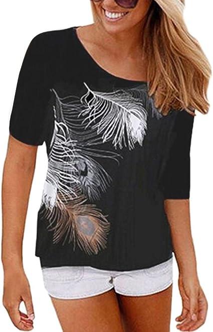 Kanpola - Camisa de manga corta para mujer, diseño de plumas ...