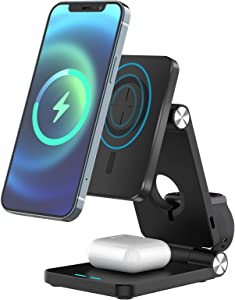 Wireless Charger 4 in 1 Qi Wireless Charging Station Fast Wireless Charger Stand for Multiple Devices Apple iPhone 12, 11 Series, XR, Xs Max, XS, 8 Plus, iWatch, Samsung Note20 Note10 S20 S10 S9 S8