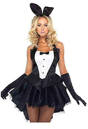 6333db4ad YaMeiDa Women s Playboy Bunny Costume Sexy Halloween Cosplay Tuxedo Party  Dress Up Costume -L