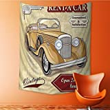 AmaPark Decor Tapestry Wall Hanging by Car Rentals Commercial Print with Keys Home Decoration Wall Tapestry Hanging 40W x 60L Inch