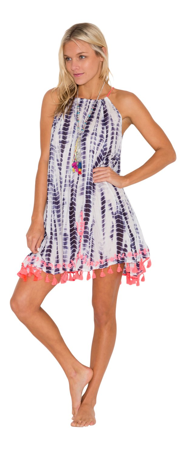 Kalypso7 Blanche Sun Dress, Swimsuit Cover Up, Sundress, Beach Coverup (Large (12-14), Navy)