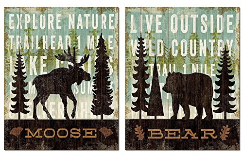 (Rustic Forest Moose and Bear Set by Michael Mullan; Cabin Lodge Decor; Two 11x14in Unframed Paper Posters (Printed on Paper, Not Wood))