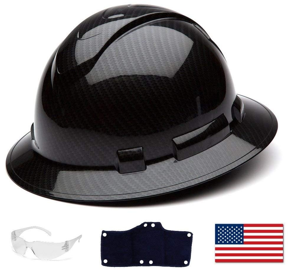 Pyramex Full Brim Hard Hat with Standard Ratchet Suspension Color Shiny Black