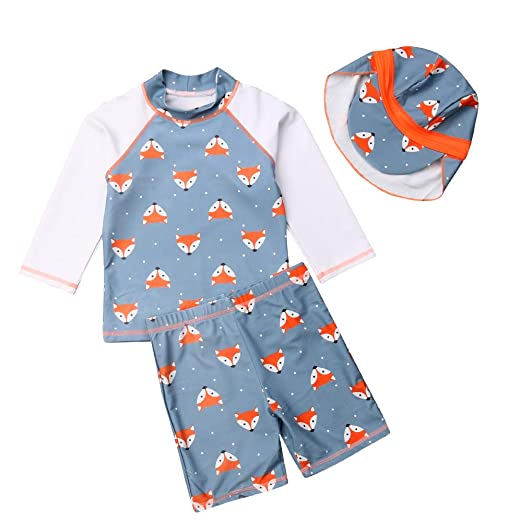 271629f4b4 Amazon.com: Baby Boys Two Pieces Surfing Suits Children Shark/Fox Rash  Guard Swimsuits Animal Sun Protection Bathing Suits: Clothing