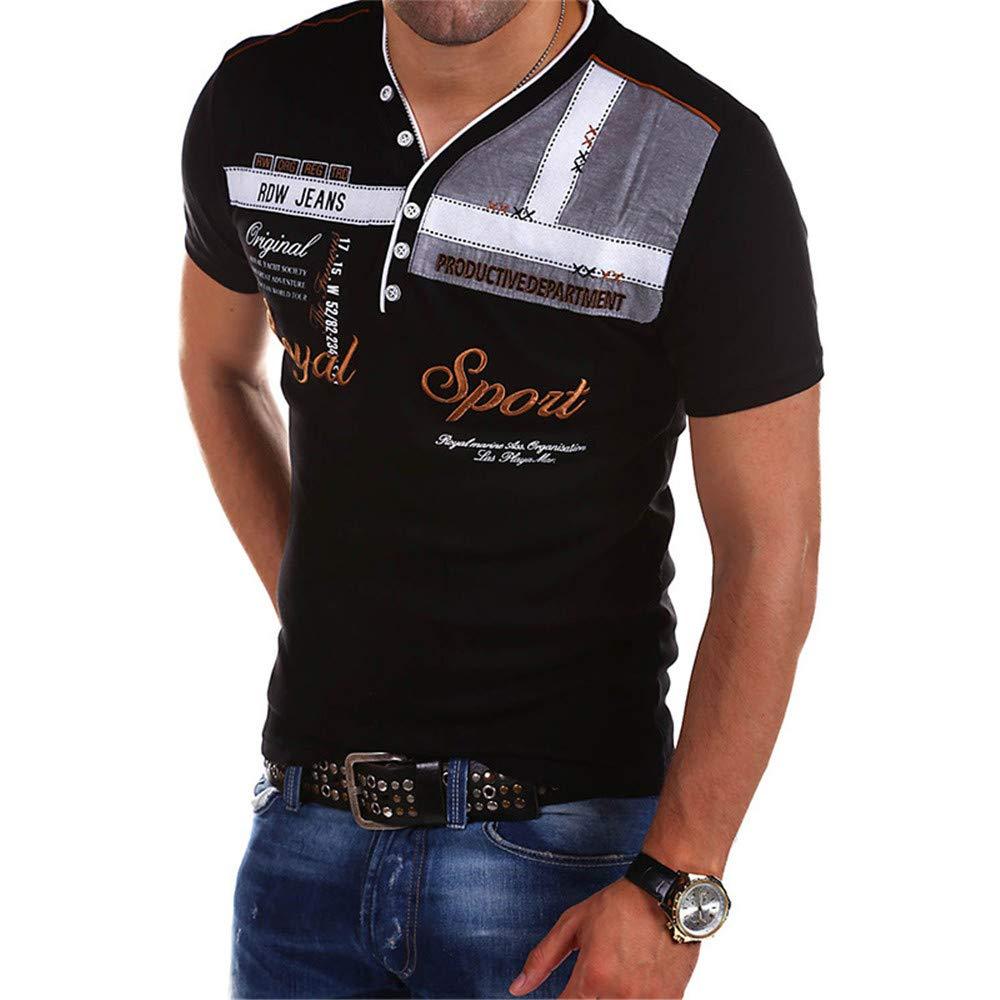 Mens Casual Breathable Polos Hombre Shirt Newstarshop Mens Short-Sleeved Polo Shirt