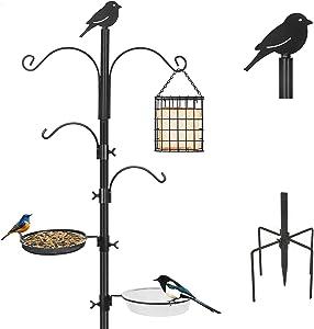 Bird Feeding Station Kit,Bird Feeder Pole Upgraded 5-Prong Base Wild Bird Feeder Hanging Kit,Great for Bird Watching Birdfeeder Planter Hanger,Easy to Install and Stable