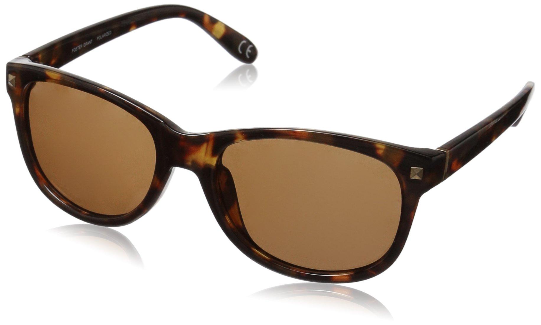 Foster Grant Women's Sutton Pol Polarized Wayfarer Sunglasses, Tortoise, 51.5 mm