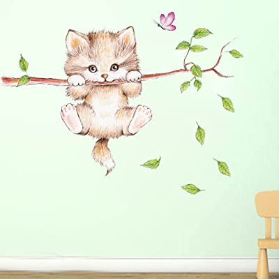 Amaonm Cartoon Cute Cat On The Tree Branches Wall Decals Removable Kitty Wall Stickers Decor Girls Bedroom Decal Kids Nursery Sticker Bathroom Wall Art Decoration Kitty Decals Cats Wall Sticker: Home & Kitchen
