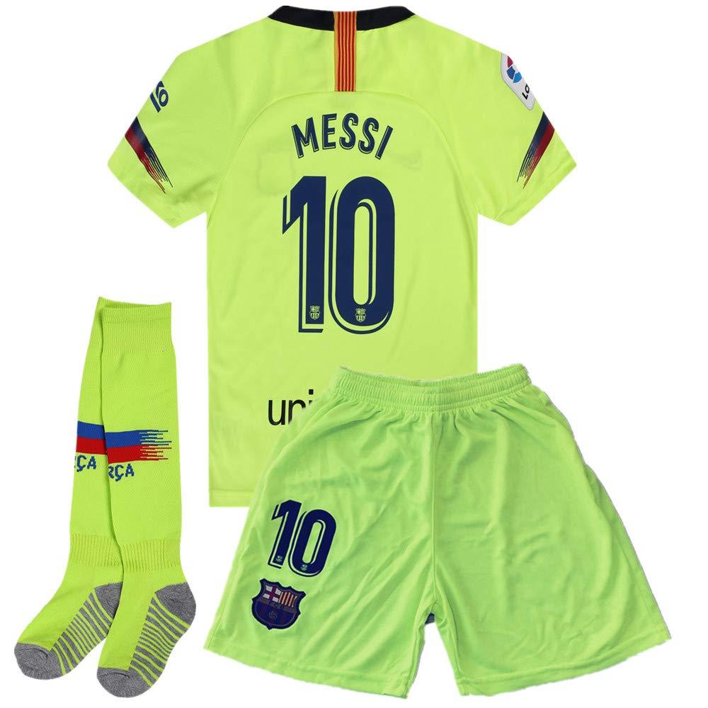 fa188d627f1 Zawhz Barcelona 2018-2019 Away Kids Youth Messi  10 Soccer Jersey   Shorts    Socks Color Green 7-8Years Size 22