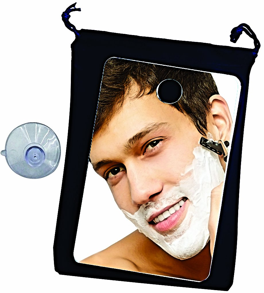 Shower Mirror ~ Fog Free Travel Shower Mirror ~ Includes Lined Velvet Drawstring Travel Bag and Large Quality Suction Cup. The Best Fogless Shower Mirror. Perfect for the Gym and Travel. Large Enough for Home Use Too. Fog Free Shaving on the Go. By Shave P