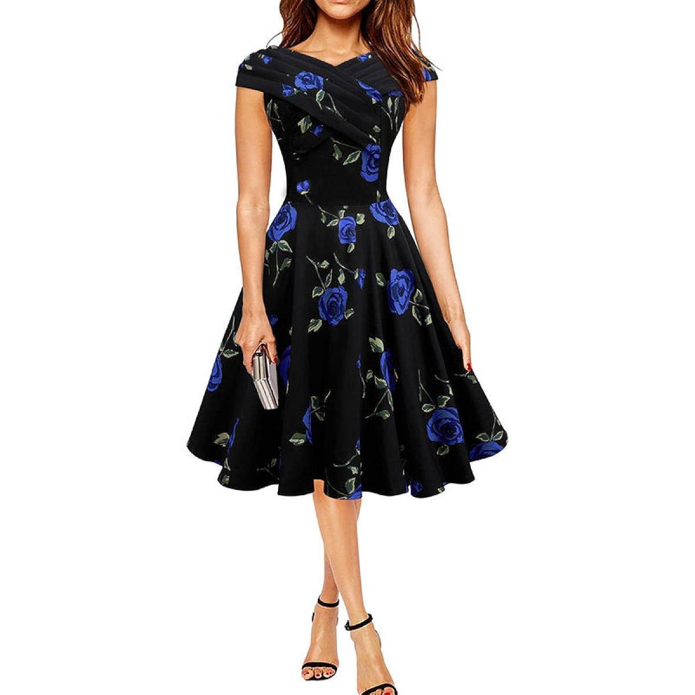 Frau Slim Druck Kurzhülse Mit V-Ausschnitt Kleid,Blue-L