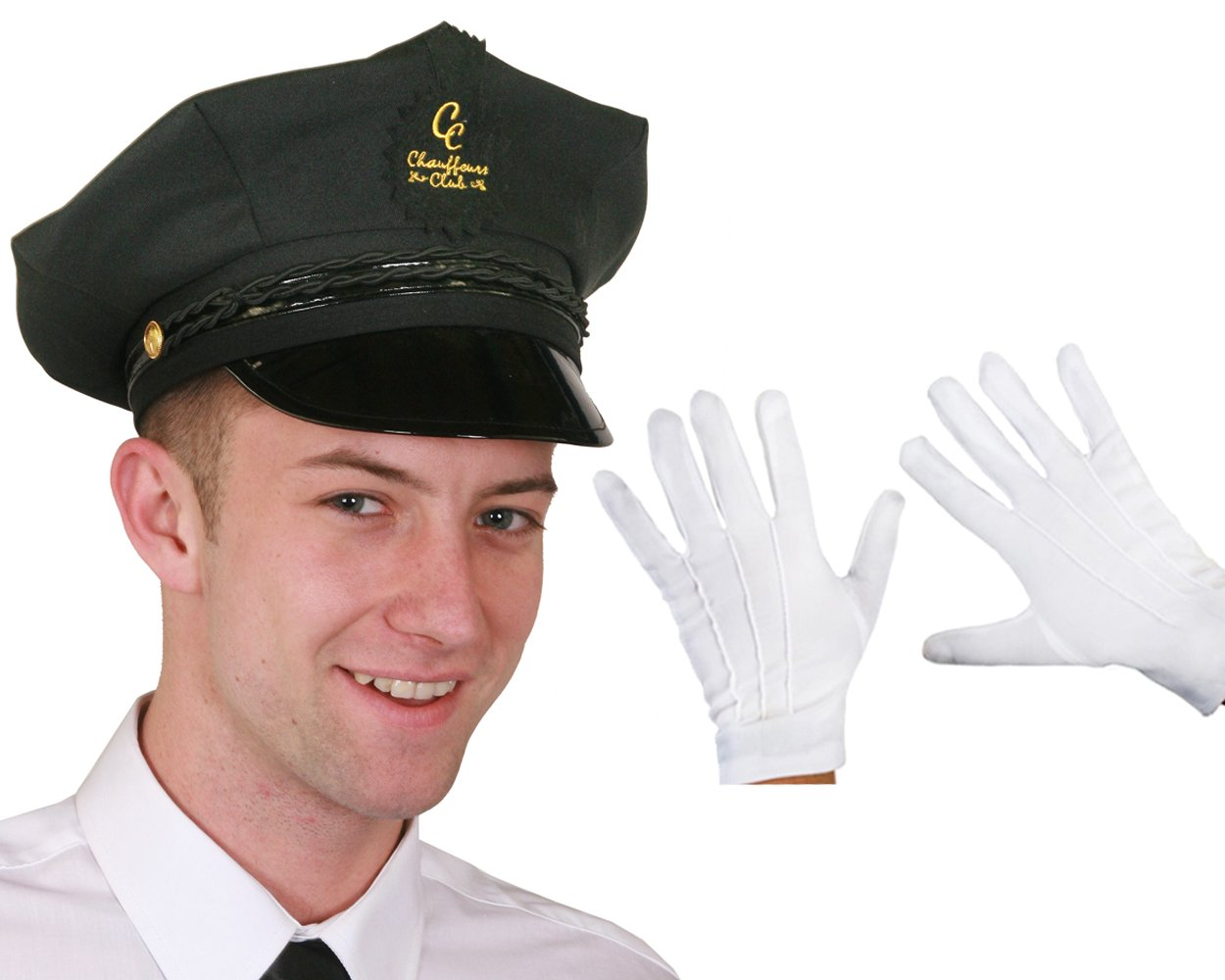 black chauffeur hat fancy dress costume accessory celebrity black chauffeur hat and white gloves fancy dress costume accessory celebrity personal limo driver valet professional