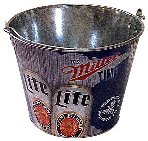Miller Lite Retro Motif Ice Bucket. Make Your Sports Game Day Party a Hit. Made of Aluminum. Holds a Six Pack of Beer or Soda. Great for Snacks. 5 Quarts
