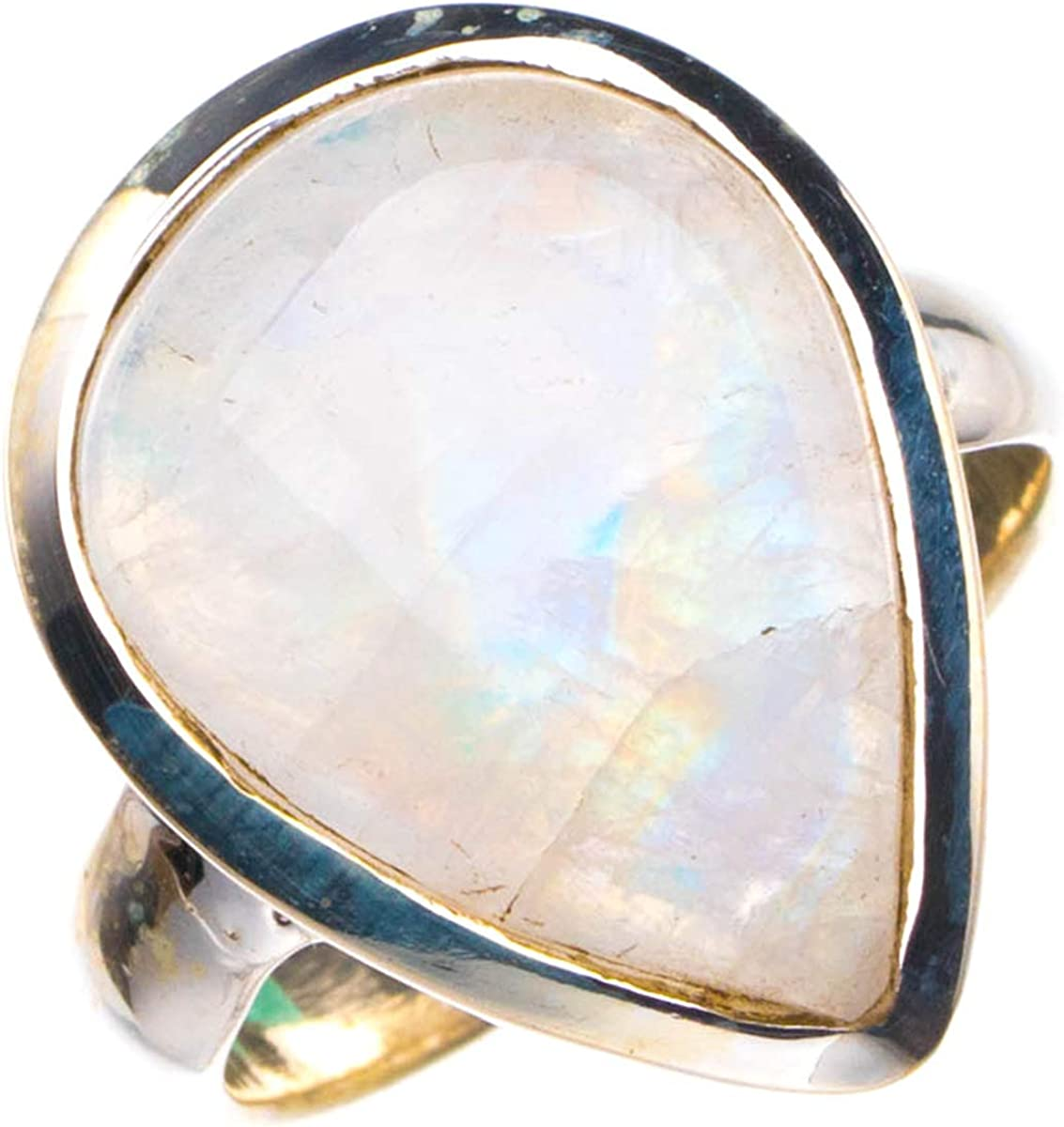 StarGems Anillo de plata de ley 925 con piedra lunar arcoíris natural hecho a mano K 1/2 D4124