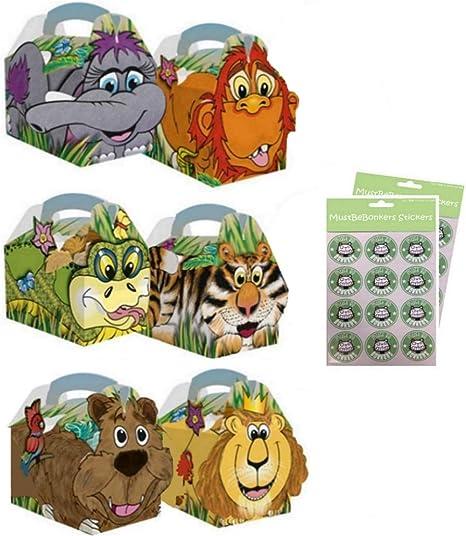 20 cajas para fiesta de cumpleaños, diseño de animales de la jungla, para niños, transportar alimentos: Amazon.es: Hogar