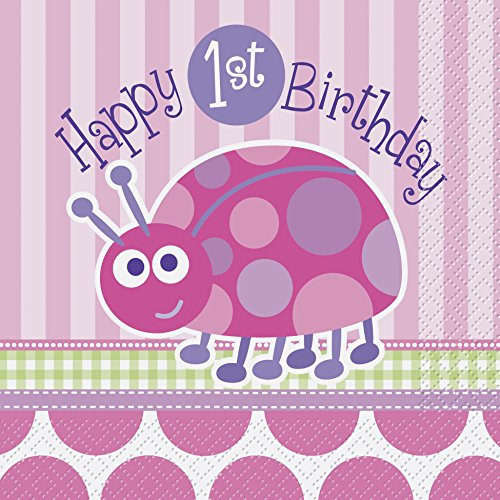 Ladybug 1st Birthday Party Napkins, 16ct