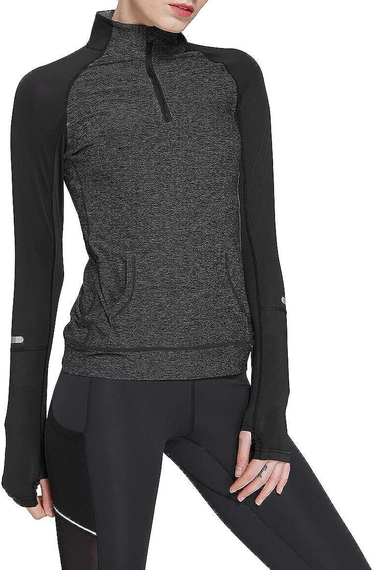 Westkun Damen 1//4 Rei/ßverschluss Langarm Laufshirt Sweatshirt Compression Track Yoga Workout Jacke Oberteile mit Daumenl/öchern