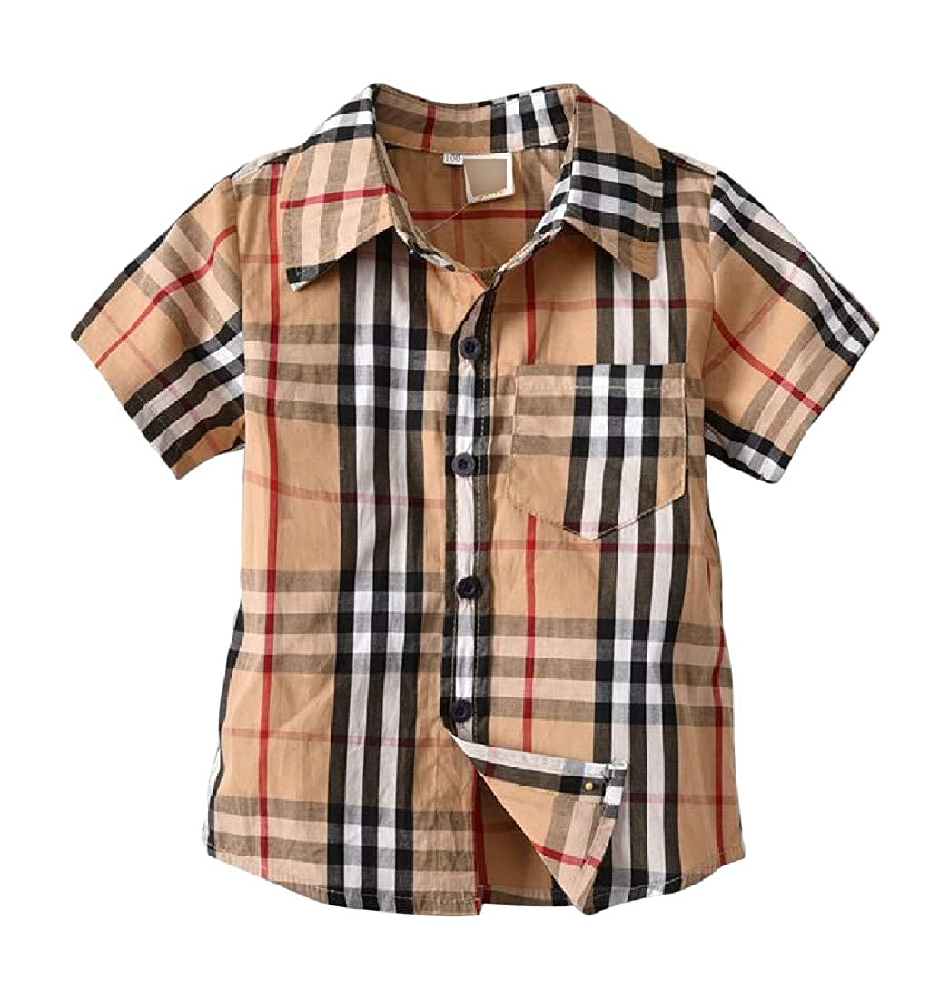 Pandapang Boys Outdoor Button Down Short Sleeve Plaid Shirts