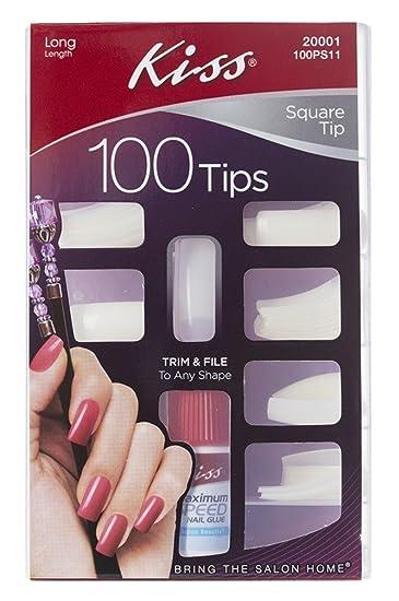 Amazon.com : Kiss Nail Kit, Square Tip, Long, 100PS11 1 kit ...