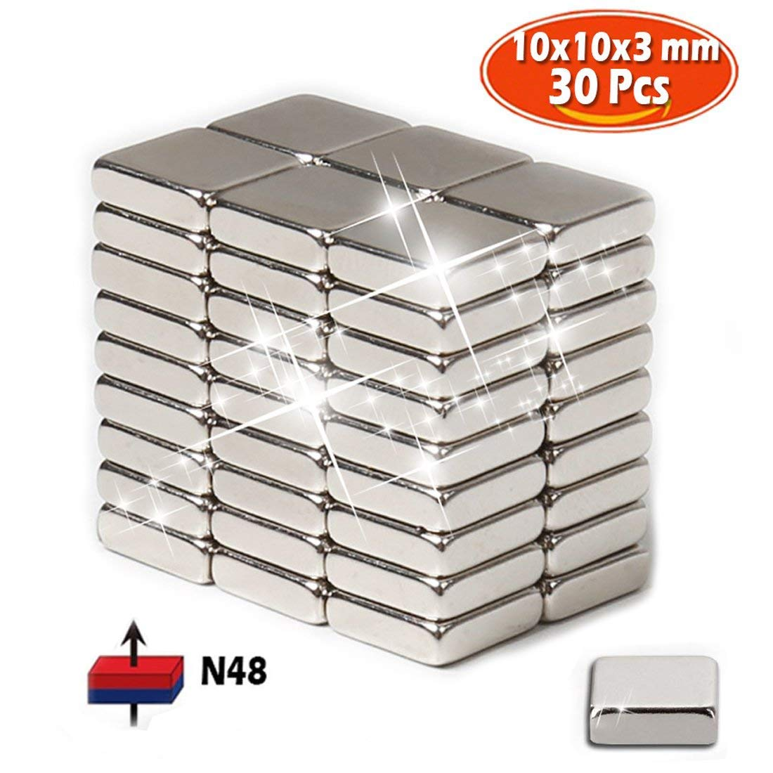 Neodymium magnets, 30 pack of Strong heavy duty refrigerator Rare earth magnets, Grade N48 Magnetic Circular Square 10x10x3 mm, Perfect for Fridge, Pin Board, White board, Force: 2.5kg HPLQM