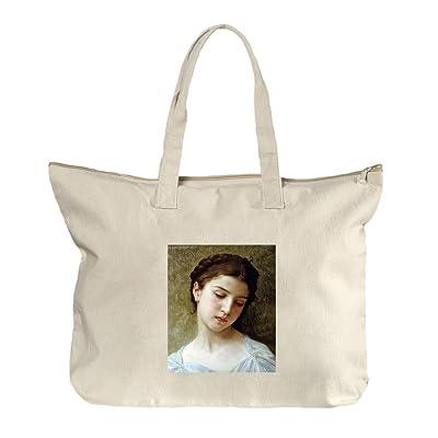 1f48db285cde Head Of A Little Girl (Bouguereau) Canvas Beach Zipper Tote Bag Tote low-