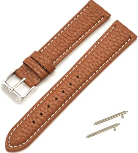 FimKaul 14/16/18/19/20/21/22/24mm Genuine Leather Wristwatch Watch Band Watchband Stainless Buckle (14mm, Brown with White line)