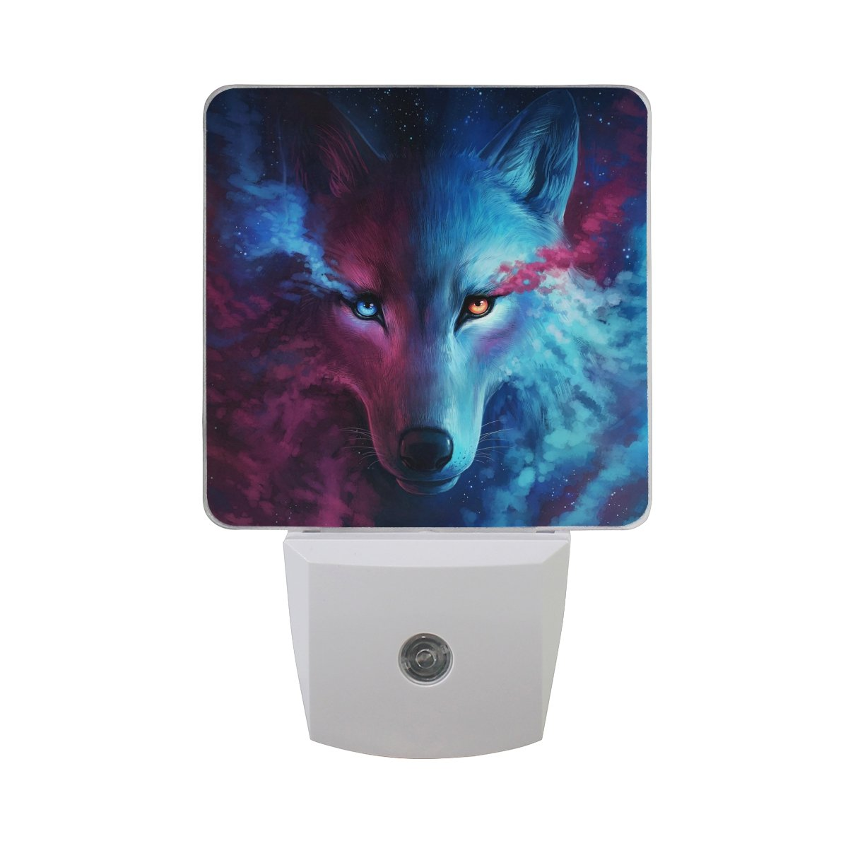Naanle Set of 2 Fantasy Wolf with Starry Sky Galaxy Nebula Yin and Yang Design Movie Artwork Auto Sensor LED Dusk to Dawn Night Light Plug in Indoor for Adults