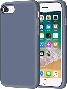 """Anuck iPhone SE 2020 Case, iPhone 8 Case, Non-Slip Liquid Silicone Gel Rubber Bumper Case Soft Microfiber Lining Hard Shell Shockproof Full-Body Protective Case Cover for iPhone 7/8/SE 4.7"""" Blue Gray"""